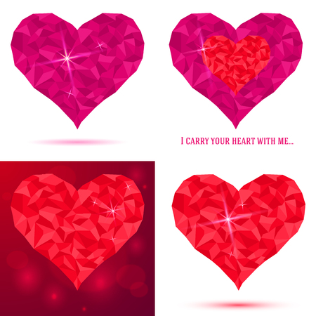Set heart icon of pink crystals. Abstract triangles - polygons glass and paper heart isolated in white background. Vector illustration.