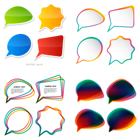 Infographic design with light color border, set of communication bubbles, isolated on white background. Vector abstract illustration of Eps 10. Theme holiday, Halloween, party, happyness, wellness
