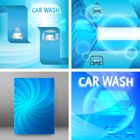 Set Car wash blue light background with icons design elements. Modern business presentation template for car-wash flyer. Abstract vector illustration eps 10 can be used for brochure layout, web banner