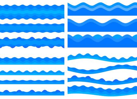 Thème naturel de la fraîcheur, fond d'eau douce bleu. Définir les éléments conçoivent une vague transparente. Ondulé abstrait pour superposer l'arrière-plan de la page sous le titre des produits de spa de l'étiquette avant. Illustration vectorielle eps10