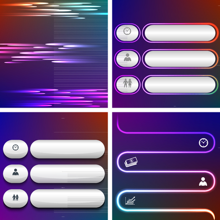 Set Technology abstract design element on blur dark gradient background. Vector illustration eps 10. Can use for business brochure layout, web banner design, coverpage magazine, flyer template  イラスト・ベクター素材