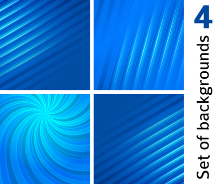 Set Abstract background blue light lines. Vector illustration EPS 10. Can use for business card, leaflet layout, web design, banner template, cover magazine page, advertising brochure design elements