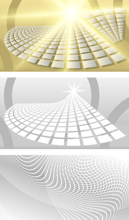 Set Business card blank template. Beige background with an elegant graphical fan reversal bulk rectangles with bright light rays from the sun. Modern design layout page