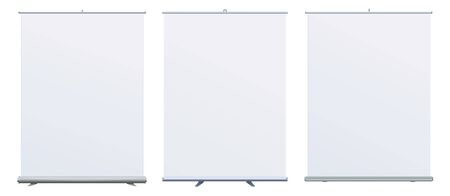 Roll Up Banner Stand on isolated clean background. Design template blank pop up banner display template for designers.