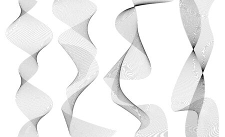 Design elements. Wave of many gray lines. Abstract vertical wavy stripes on white background isolated. Creative line art. Vector illustration EPS 10. Waves with lines created using Blend Tool. Vektoros illusztráció