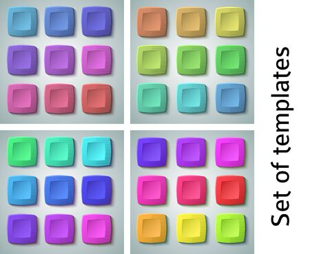 Set of blank colors buttons for website or app. Vector eps10, matte plastic texture with glow effect design and squares shape elements, backdrop banner concave dent.
