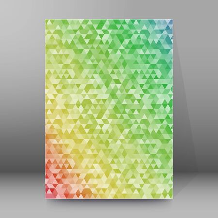 Modern triangles colors gradient background. Geometric mosaic style with random color saturation with imposition transparency for place message. Vector illustration EPS 10 for presentation template