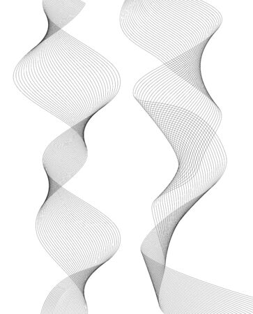 Design elements. Wave of many gray lines. Abstract vertical wavy stripes on white background isolated. Creative line art. Vector illustration EPS 10. Waves with lines created using Blend Tool.