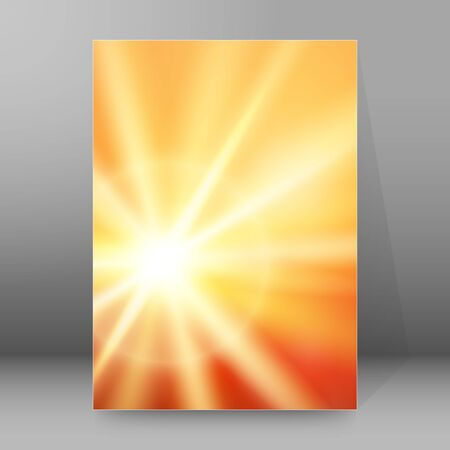 summer background with orange blue rays summer sun light burst. Hot announcement with space for message. Vector illustration EPS 10 for design presentation, brochure layout page, cover magazine