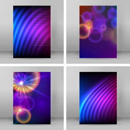 Set Templates for multipurpose presentation. Design brochure advertising, blurred effect on purple blue background event party flyer, business card, web site element