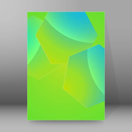 Abstract geometric background blue green with hexagon design element. Ilustração