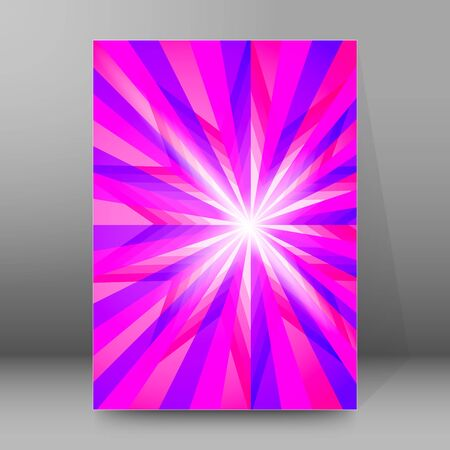 Advertisement flyer design elements background. Blue purple gradient with elegant graphic gloving ice star bright light rays from. Ilustração
