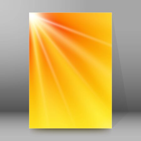 summer background with orange blue rays summer sun light burst. Hot announcement with space for message.