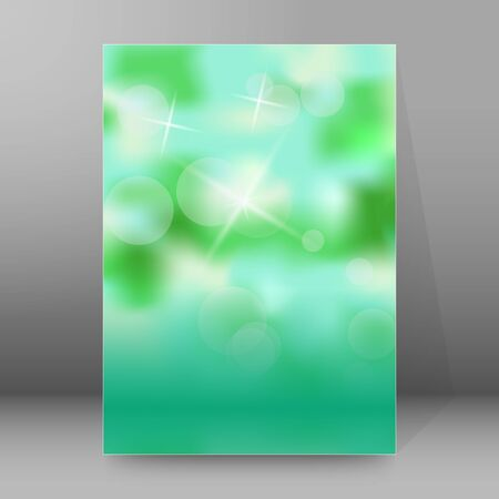 Advertising flyer party design elements. Green blue gradient background with elegant graphic blur bright light circles. Fun illustration for template brochure, layout leaflet, cafe menu card Imagens - 133530507