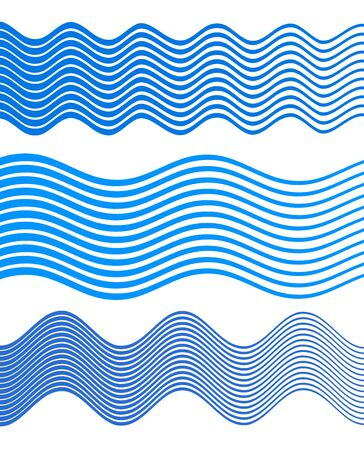 Elements design. Abstract wavy stripes for overlaying background of page under meshedge brochure, poster. Creative art for lines of different thicknesses from thin to thick. Ilustração