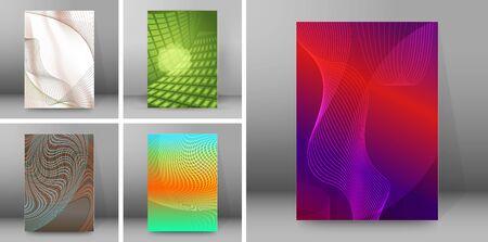 Set Blurred background advertising brochure design elements. Blurry light glowing graphic form for elegant flyer.