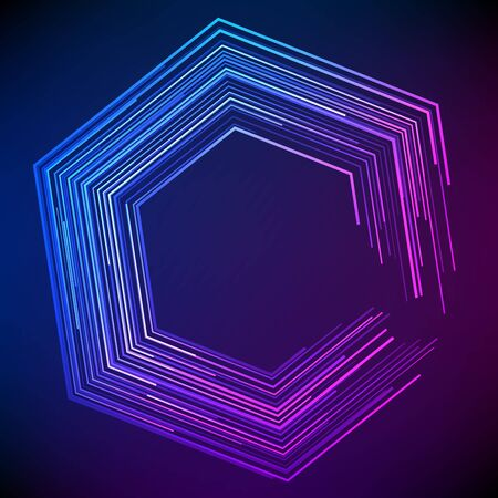 Blur dark gradient background of bright glow perspective with lighting lines hexagon with space place for your text.