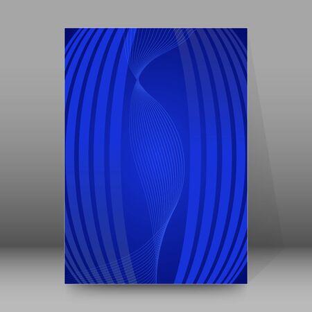 Advertising flyer party design elements. Blue background with elegant graphic blur bright light circles. Fun illustration for template brochure, layout leaflet, cafe menu card Ilustração
