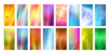 Set Abstract background glow light. Can use for business card, leaflet layout, web design, banner template, cover magazine page, advertising brochure design element Ilustração