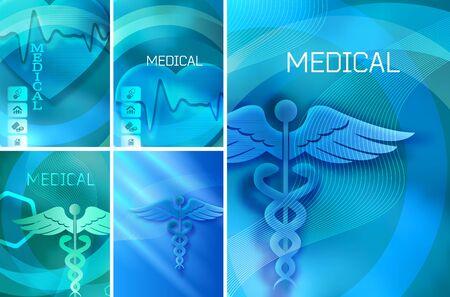 Set Blue medical background abstract - concept health care or medicine technology. Graphic Design elements vertical banner, flyer dental service, presentation brochure Ilustração