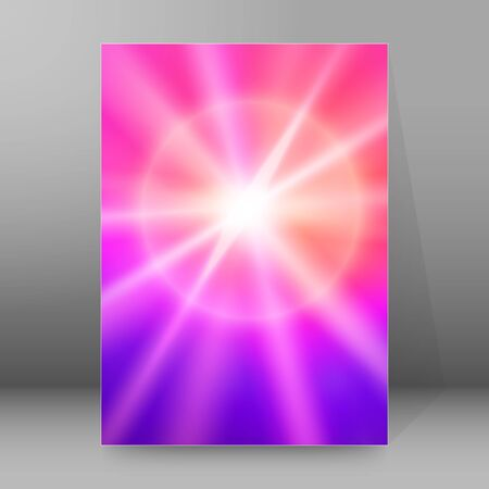 Advertisement flayer design elements background. Blue purple gradient with elegant graphic gloving ice star bright light rays from. Illuminated magic vector illustration eps 10 for template brochure