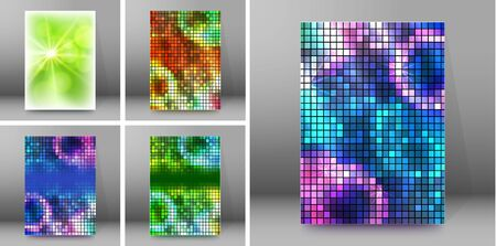 Set Modern geometrical background of bright glowing perspective with squares, rectangle form. Graphic blurry template.
