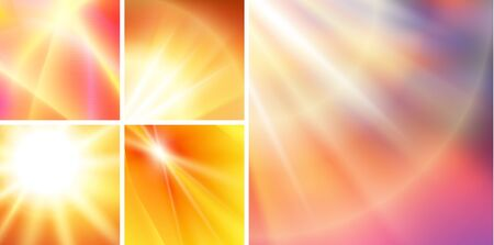Set summer background with orange yellow rays summer sun light burst. Hot announcement with space for message.