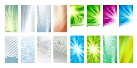 Set Abstract background glow light.  Can use for business card, leaflet layout, web design, banner template, cover magazine page, advertising brochure design element Ilustração