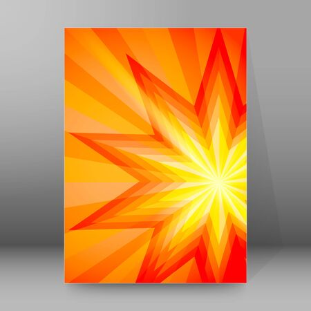 Advertisement flyer design elements. Hot Yellow red background with elegant graphic sun star bright light rays from.