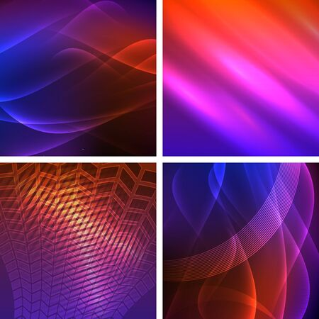 Set Templates for multipurpose presentation.  Design brochure advertising, blurred effect on purple blue background event party flyer, business card, web site element
