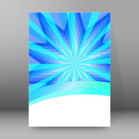 Advertisement flyer design elements. Blue background with elegant graphic sun ice flower bright light rays from.