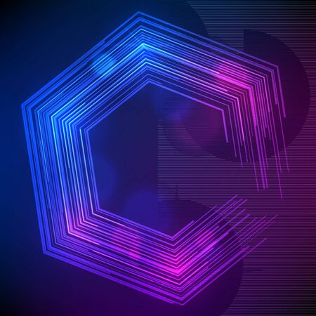 Blur dark gradient background of bright glow perspective with lighting lines hexagon with space place for your text. Graphic image template. Stock Illustratie