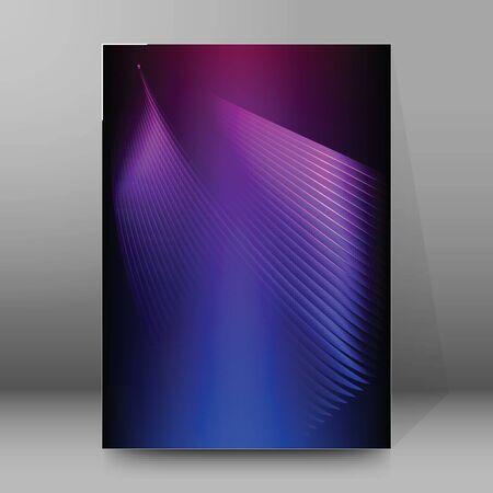 Advertising flyer party design elements. Purple background with elegant graphic blur bright light circles. Fun illustration for template brochure, layout leaflet, cafe menu card Illusztráció