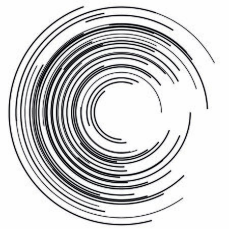 Design elements. Curved many streak. Abstract Circular element on white background isolated. Creative band art.