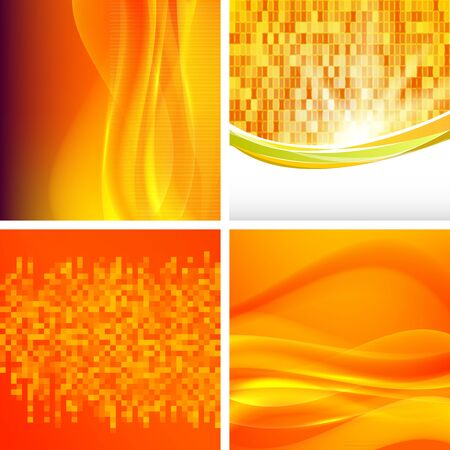 Modern geometrical orange and yellow background of bright glowing perspective with squares. Gorgeous graphic image template. Abstract image for backdrop business card or banners agriculture technology