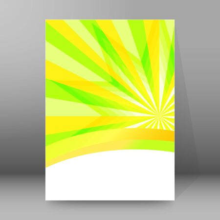 Summer background with orange yellow rays summer sun light burst. Hot announcement with space for message. Vector illustration EPS 10 for design presentation, brochure layout page, cover magazine Illusztráció