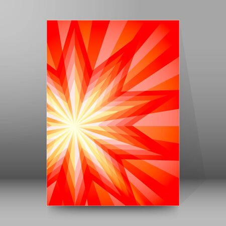 Advertisement flyer design elements. Hit red background with elegant graphic sun star bright light rays from.
