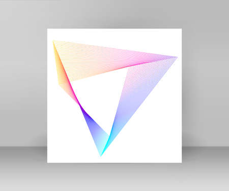 Design elements. Curved sharp corners many streak. Abstract polygonal broken stripes on white background isolated. Creative band art.