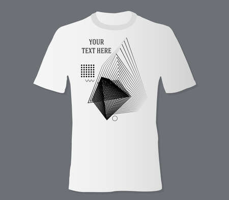 Realistic t-shirt mock up with print abstract geometric monohrome pattern on black background Stock Illustratie