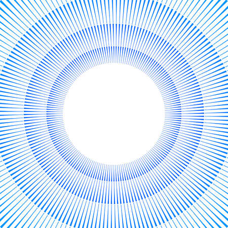 Advertisement flyer design elements. White background with elegant graphic sun blue lines rays from the center