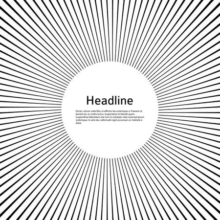 Advertisement flyer design elements. White background with elegant graphic sun lines rays from the center