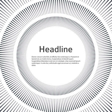 Advertisement flyer design elements. White background with elegant graphic sun lines rays from the center Vecteurs