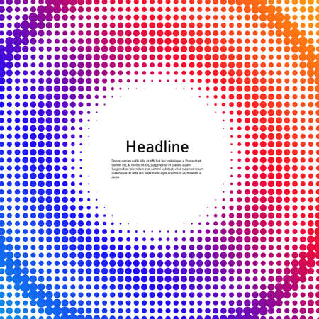 Abstract background advertising brochure design elements halftone circle. Glowing light effect dots graphic form for elegant flyer