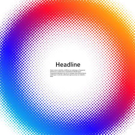 Design elements symbol Editable color halftone frame dot circle pattern on white background. Vector illustration  frame with black random dots. Round border Icon using halftone circle dots text