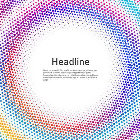 Design elements symbol Editable color halftone frame dot circle pattern on white background. Vector illustration  frame with black random dots Stock Illustratie