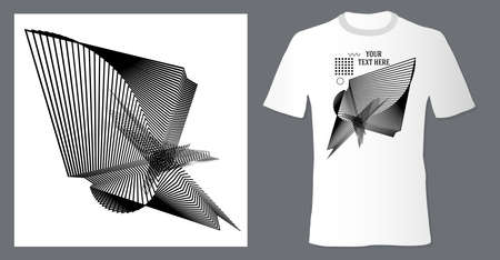 Realistic t shirt mock up with print abstract geometric monohrome pattern on white background. Can be used for editing and printing on style tee-shirt Stock Illustratie