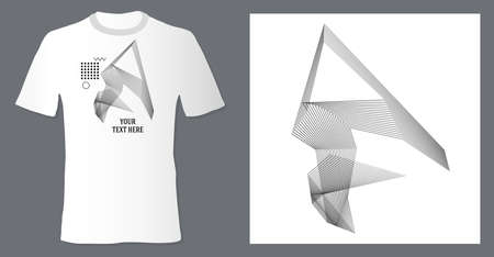 Realistic t shirt mock up with print abstract geometric monohrome pattern on white background. Can be used for editing and printing on style tee-shirt