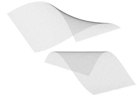 Design elements. Wave of many black lines circle twist. Abstract wavy stripes on white background isolated