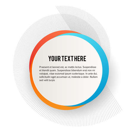 Label blank template, white background and Blurry gradient with lines circle ring. Stock Illustratie