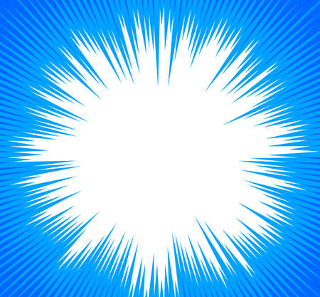 Advertisement flyer design elements. Blue background with elegant graphic sun flower bright light rays from the center